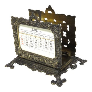 Antique Cast Iron Letter Rack With Perpetual Calendar For Sale