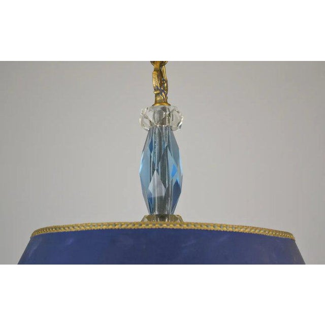 Glass Blue Shade Crystal Pendant For Sale - Image 7 of 9