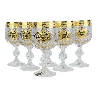 Czech Bohemian Bohemia Wine Water Glasses Gold Frosted Hand Made - Set of 6 For Sale