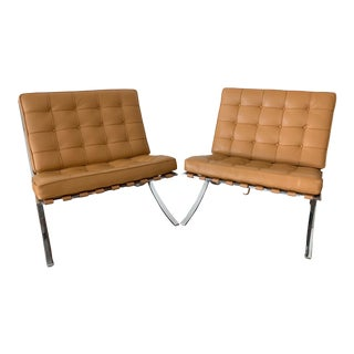 Mid-Century Modern Ludwig Mies Van Der Rohe's Barcelona Chairs - a Pair For Sale