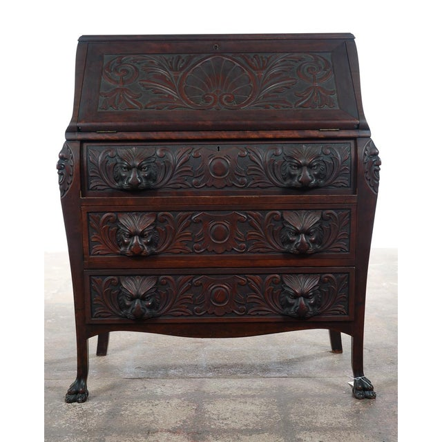 R. J. Horner & Co. R. J. Horner C.1890's Carved Mahogany Drop Desk For Sale - Image 4 of 10