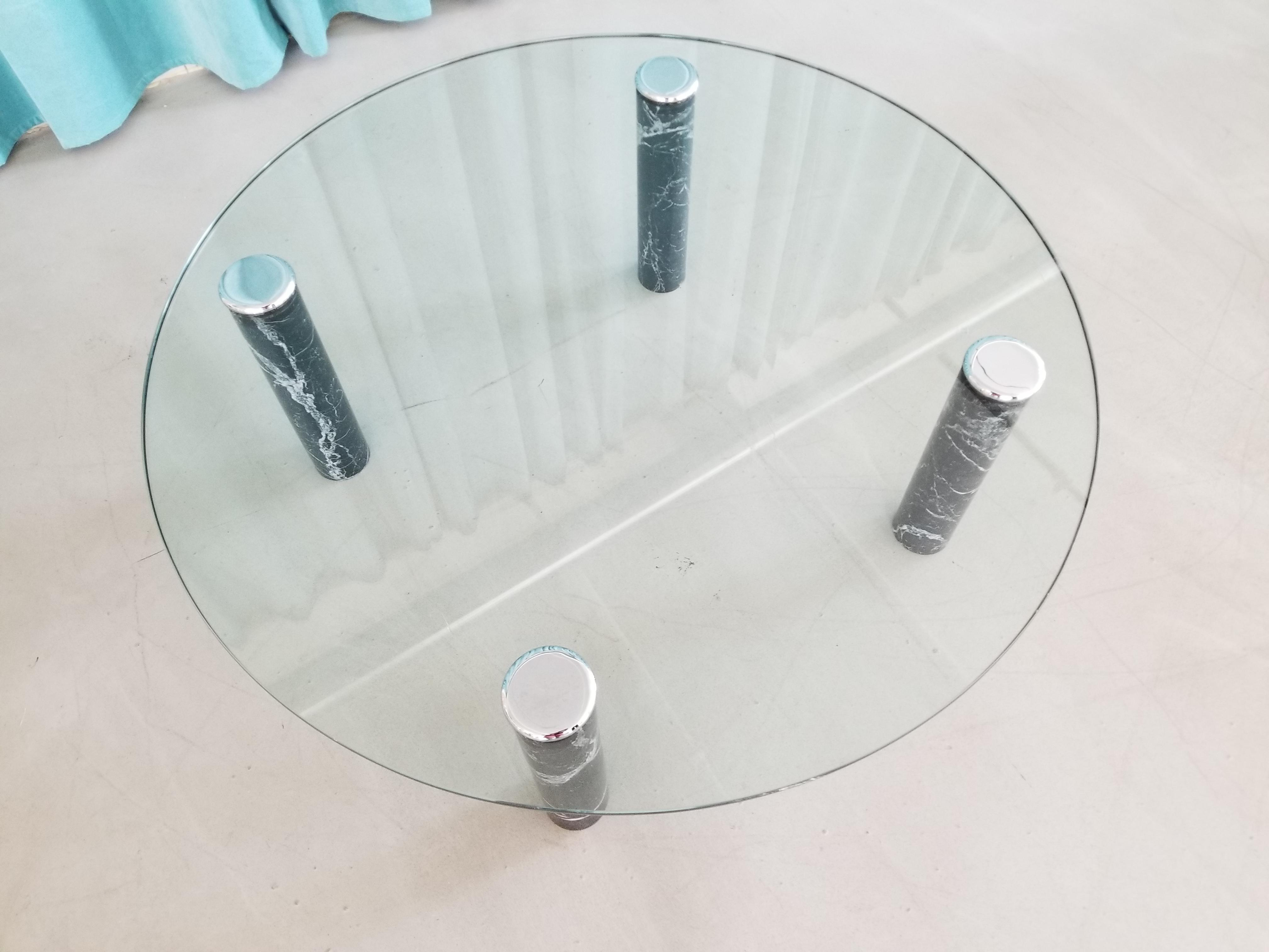 Pace Collection 1970 S Glass Coffee Table With Black Marble And Chrome Legs