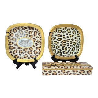1970s Vintage Italian Mottahedeh Leopard Ceramic Set - 3 Pieces For Sale