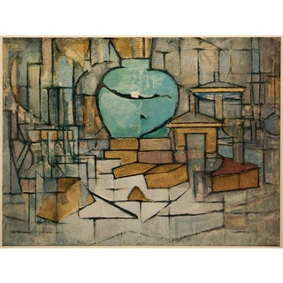 """1958 After Piet Mondrian """"Still Life With Ginger Pot 2"""" Vintage Full Color Print From England For Sale"""