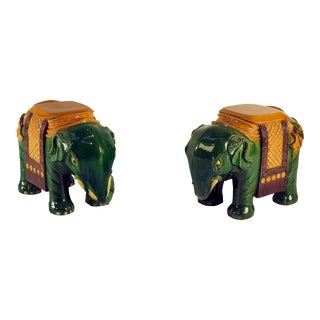 Mid 19th Century Ching Dynasty Green Glazed Elephant Garden Seats - a Pair For Sale