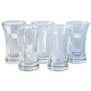 Shot Glasses W/ Frosted Shapes, S/5 For Sale