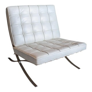 Pavilion Barcelona Style Ivory White Leather Lounge Chair For Sale