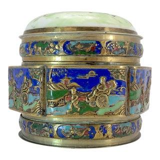 Antique Brass Coisonné Snuff Box For Sale