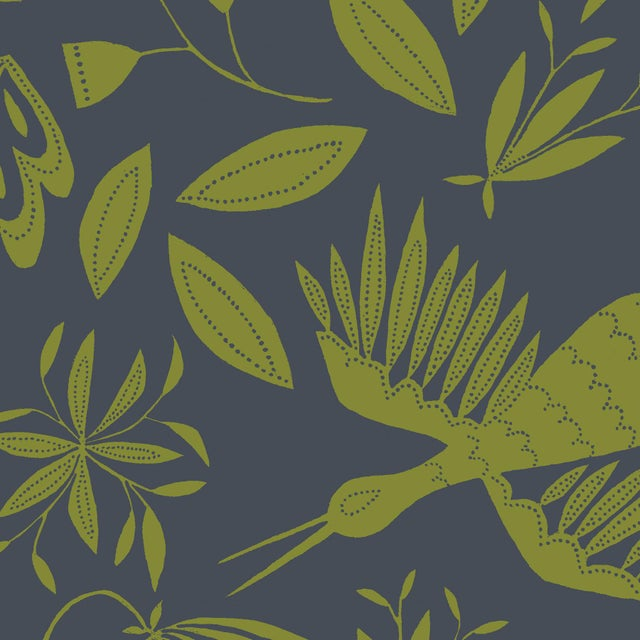 Transitional Julia Kipling Otomi Grand Wallpaper, 3 Yards, in Late Wales For Sale - Image 3 of 4