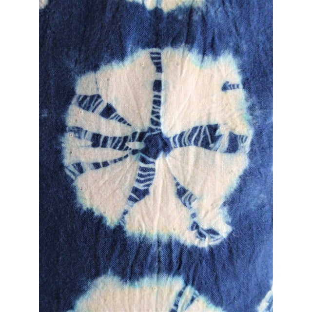 Asian Style Indigo Tie Die Hand Made Pillows - a Pair For Sale - Image 4 of 10
