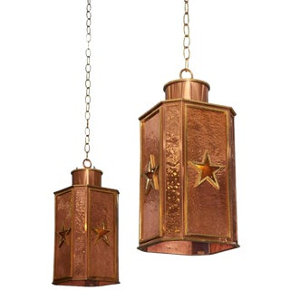 Art Deco Copper and Brass Hanging Pendants With Star Details - a Pair For Sale
