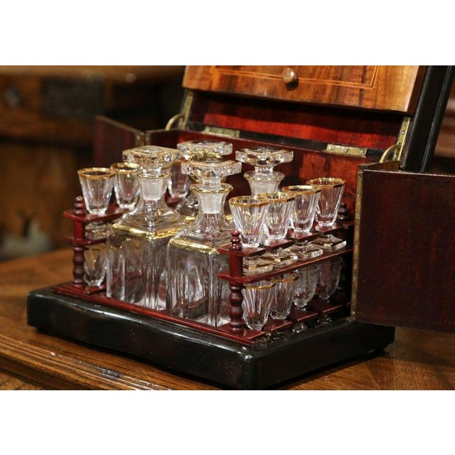 19th Century French Napoleon III Walnut Cave a Liqueur With Inlay Marquetry For Sale In Dallas - Image 6 of 12