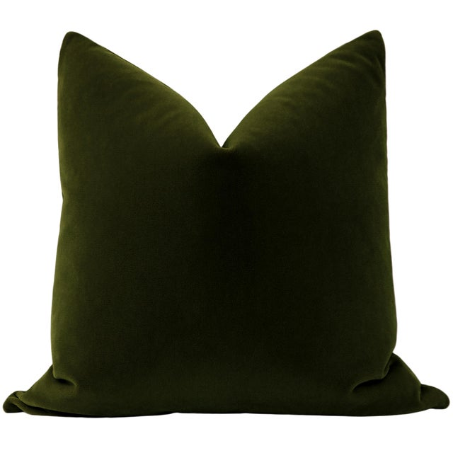 Pair of beautiful custom-made luxury mohair pillows in an olive green colorway. Meticulously handcrafted with serged...