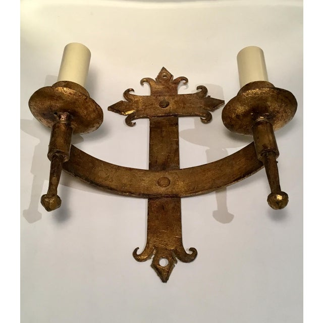 Gold Late 19th / Early 20th C. French Wired Double Light Wall Sconces - a Pair For Sale - Image 8 of 11