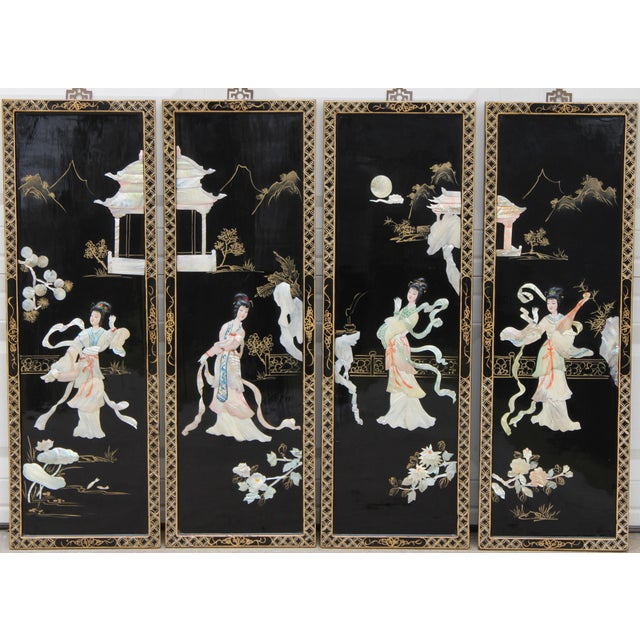 Asian Wall Panels Depicting Chinese Performers or Geishas For Sale - Image 13 of 13