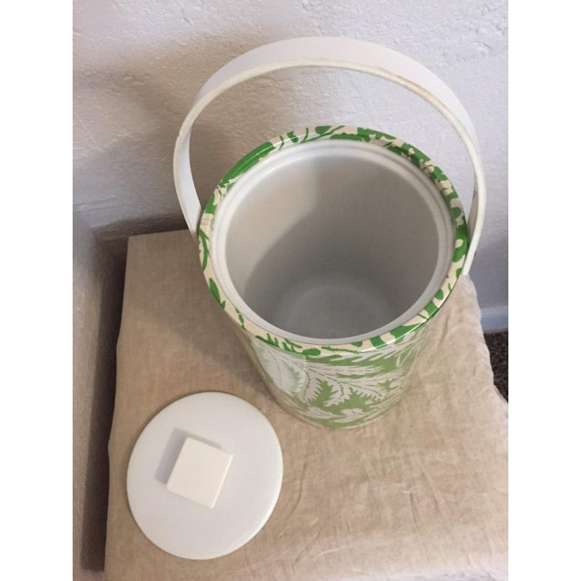 The best Hollywood Regency/Palm Beach glam style, 1970's ice bucket, mod white plastic covered with green and white leaf...