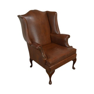 George III Vintage Faux Brown Leather Mahogany Wing Chair For Sale