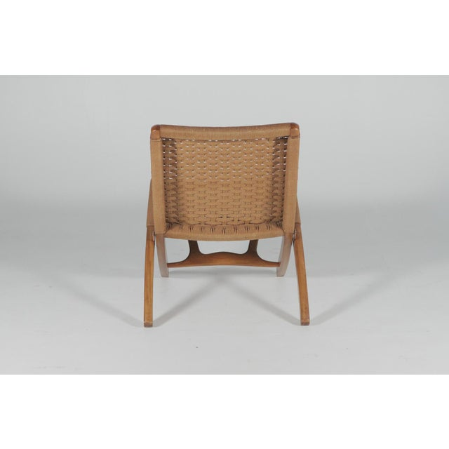 Final Markdown 1960s Hans Wegner Style Folding Rope Lounge Chairs- a Pair For Sale - Image 9 of 10