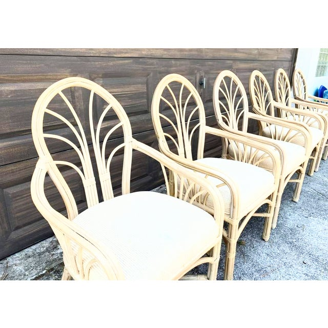 Vintage McGuire Style Natural Coastal Rattan Dining Arm Chairs Set of 6 For Sale - Image 9 of 10