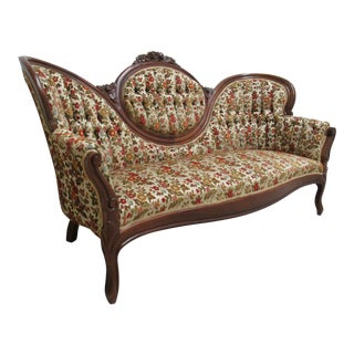 Antique Victorian Hump Back Rose Carved Love Seat Sofa For Sale