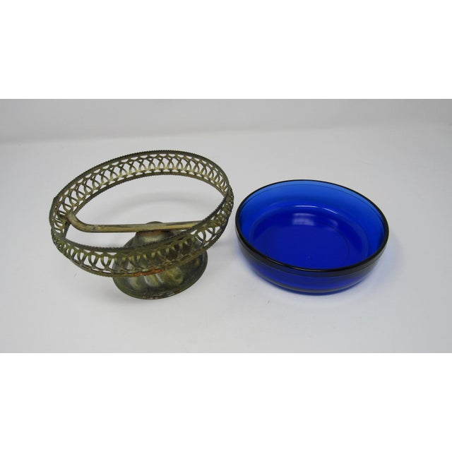 Vintage Cobalt Glass Bowl in Pierced Metal Stand For Sale In Los Angeles - Image 6 of 8
