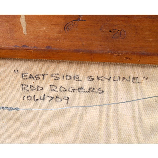 """Canvas Rod Rodgers Painting, """"East Side Skyline"""" For Sale - Image 7 of 8"""
