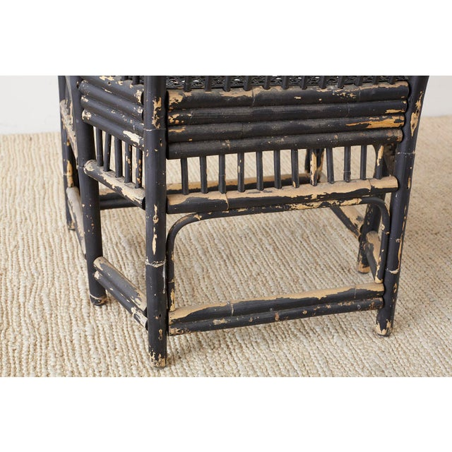 Brighton Bamboo Rattan Chinese Chippendale Lacquered Chairs For Sale - Image 10 of 13