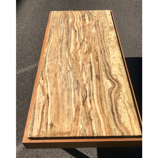 Ilse Möbel Coffee Table With Rare 'Onyx Travertine', Teak & Chrome From Germany For Sale - Image 9 of 12