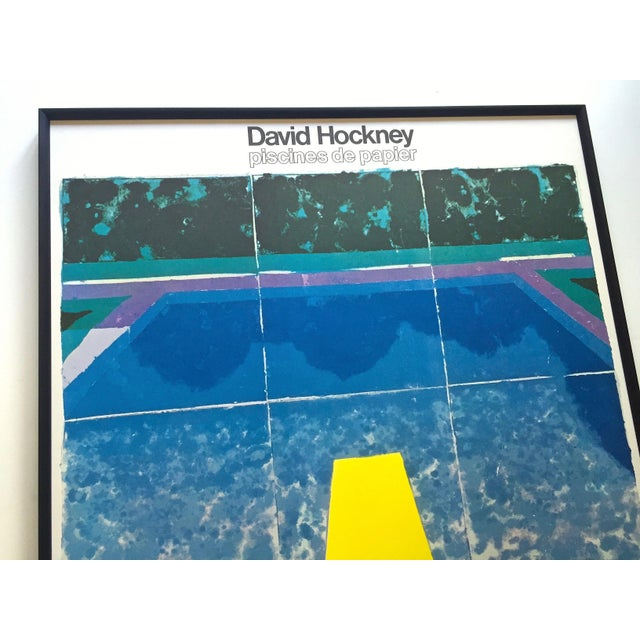 """Royal Blue David Hockney Rare Vintage 1978 Iconic Fine Art Lithograph Print Framed Pop Art Poster """" Day Pool With Three Blues """" For Sale - Image 8 of 13"""