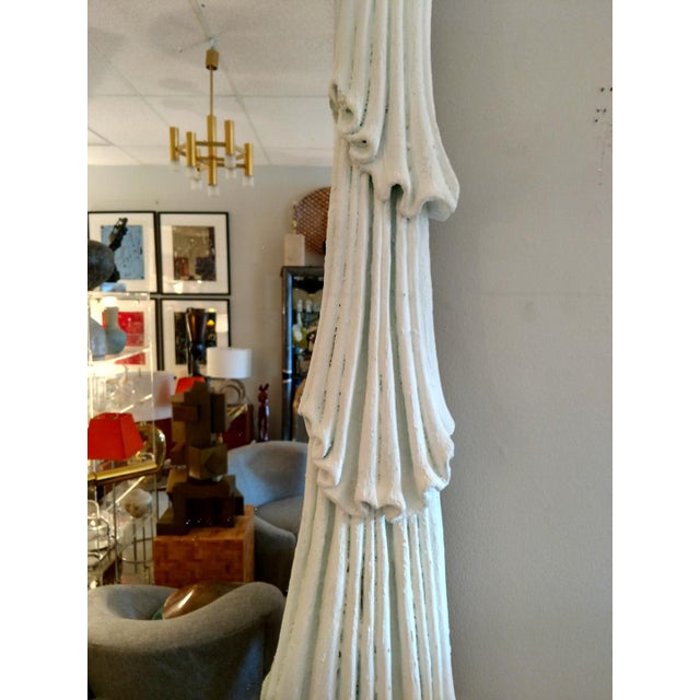 1980's Drapery Styled Framed Mirror, Vintage For Sale In Miami - Image 6 of 9