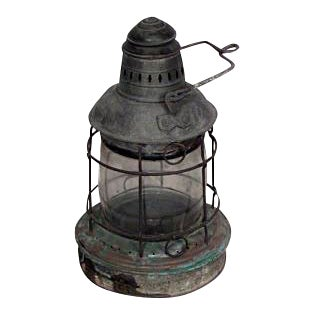 American Country (19th Cent) large iron and glass ship embarkment lantern For Sale