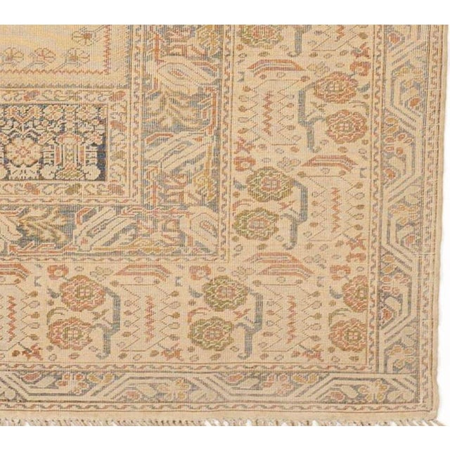 Antique Turkish Kaisary Rug. Central niche with hanging lamp surrounded with soft color palettes.