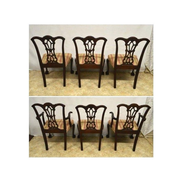 Solid Mahogany Chippendale Style Dining Chairs Ball & Claw Feet - Set of 6 For Sale - Image 5 of 11