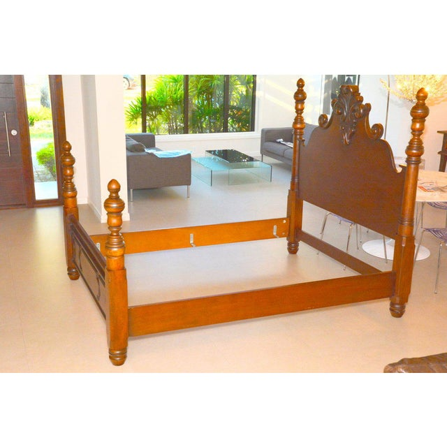 Traditional Ralph Lauren Four Poster Carved Wood Queen Size Bed Frame For Sale - Image 3 of 9