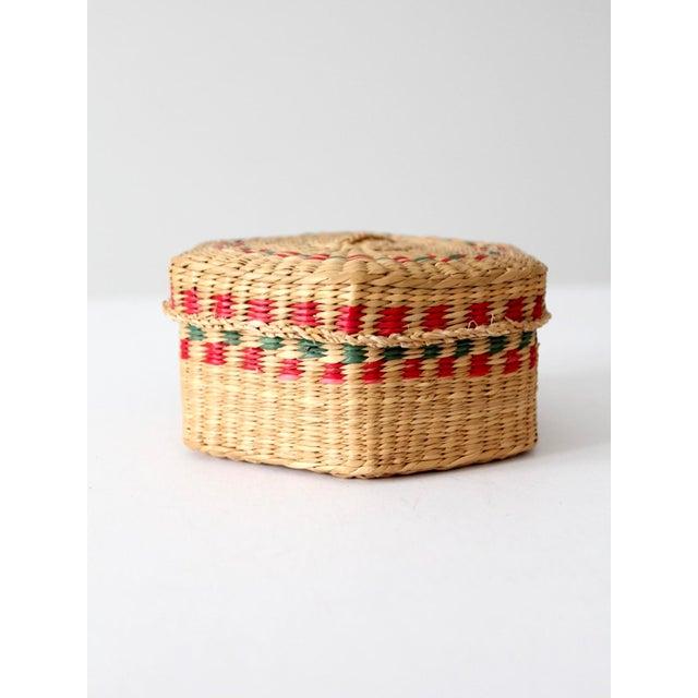Textile Vintage Sweetgrass Basket For Sale - Image 7 of 10