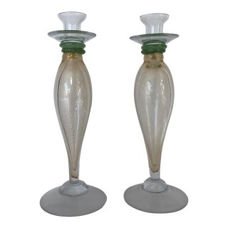 Murano Glass Candlesticks - a Pair For Sale
