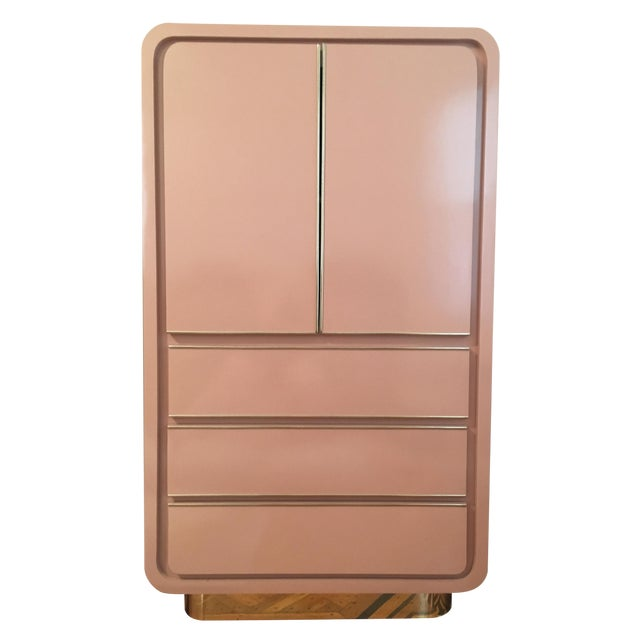 Modern Rose Pink Laminate Armoire With Brass Base For Sale