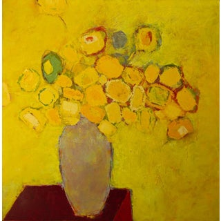 """Bill Tansey """"Yellow"""" Abstract Floral Oil on Canvas"""