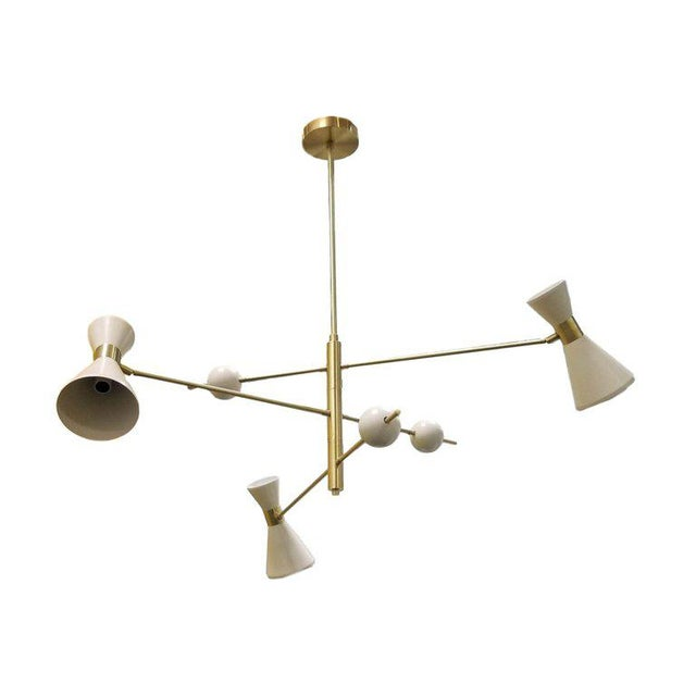"Contemporary Mid-Century Modern Blueprint Lighting ""Campana"" Three-Arm White Pendant For Sale - Image 3 of 10"