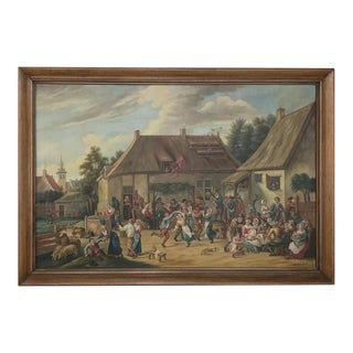 Grand Antique Painting After David Teniers the Younger (1610-1690) by Jan Op De Beeck For Sale