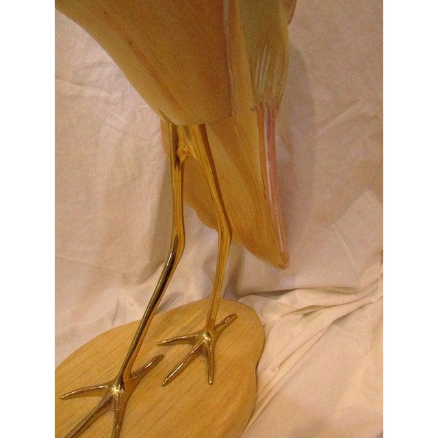 Carved Wood Sandpiper Sculpture - Image 3 of 4