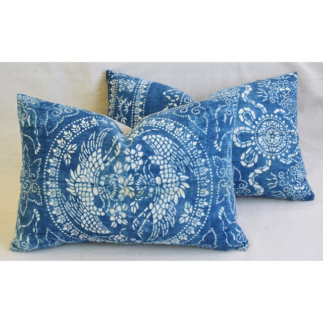 "Blue & White Shanghai Batik Chinoiserie Feather/Down Pillows 23"" X 16"" - Pair For Sale - Image 11 of 11"