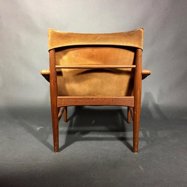 "Animal Skin 1960s Scandinavian Modern Hans Olsen ""Antilop"" Suede and Oak Safari Chair For Sale - Image 7 of 12"