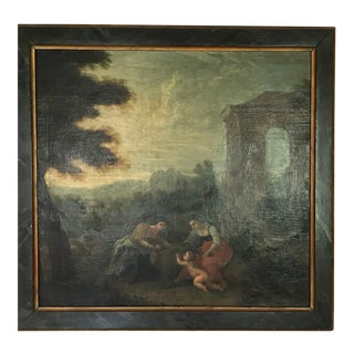 Original 17th Century Antique Allegorical Ruins Figures Oil Painting on Canvas For Sale