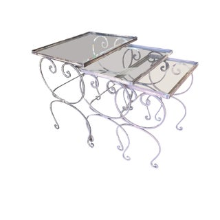 Scrolling Steel Outdoor/Patio Nesting Side Tables W/ Glass Tops, Set of 3 For Sale