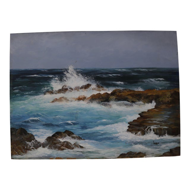 Vintage Seascape Acrylic Painting on Board For Sale