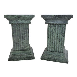 Vintage Solid Italian Green Marble Pedestal Bookends - a Pair For Sale