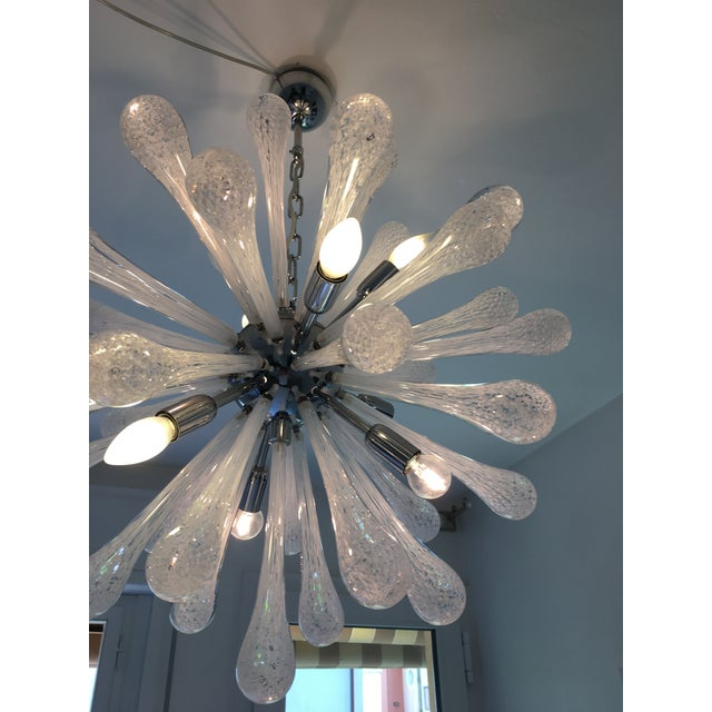 Murano White & Transparent Murano Glass Sputnik Chandelier For Sale - Image 4 of 7
