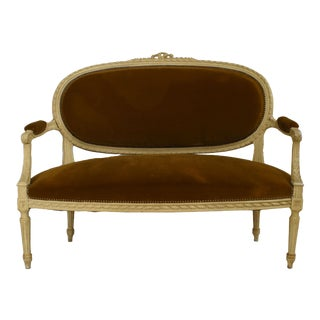 French Louis XVI Velvet Loveseat For Sale