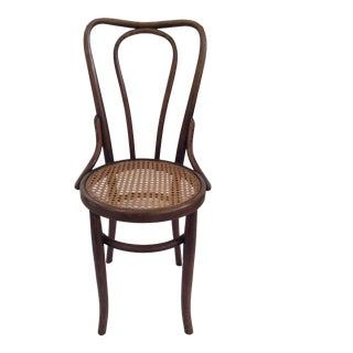 Vintage Bentwood Thonet Chair With Wicker Seat For Sale